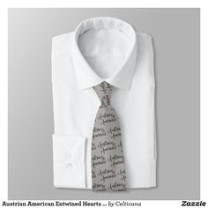 #Austrian American Entwined Hearts Tie. Design available on many styles of #hoodies, t-shirts, sweatshirts as well as ties and homewares. #AustrianAmerican #Austria #Zazzle