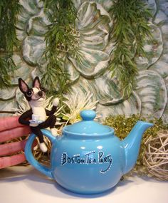 """This is my Trademark copyrighted """"Boston Tea Party"""" teapot. The Boston terriers are needle felted out of wool fibers. Made by Sue Ann Schley. Check out my Esty Shop: SamsFurKids: https://www.etsy.com/shop/SamsFurKids?page=1"""