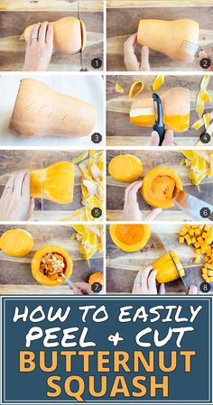 Learn How to Peel and Cut Butternut Squash quickly and easily by microwaving, using a potato peeler, seeding it, and then cutting it into cubes! Peeling Butternut Squash, Best Butternut Squash Soup, Healthy Butternut Squash Recipes, Fat Quarters, Soup Recipes, Cooking Recipes, Cooking Tips, Dinner Recipes, Whole30 Recipes