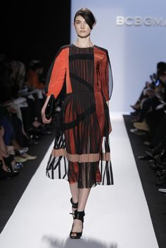 BCBG RTW Fall color blocking in rust shades and pleats galore. Not feeling great about this. Feeling Great, Design Tutorials, Color Blocking, Rust, Ready To Wear, Runway, Shades, Fall, How To Wear