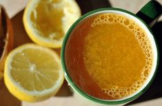 golden detox drink - tsp turmeric - tsp powdered ginger - pinch of cayenne - pour 2 cups hot water over and stir - juice from organic lemon Smoothie Drinks, Detox Drinks, Smoothies, Banana Cinnamon Tea, Vash, Cancer Treatment, Tea Recipes, Turmeric, Food And Drink