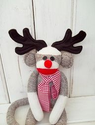 Rudolph the red nosed reindeer sock monkey