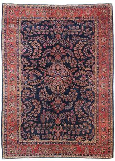 Antique Sarouk Rugs Gallery: Antique Sarouk Rug, Hand-knotted in Persia; size: 8 feet 9 inch(es) x 12 feet 0 inch(es)