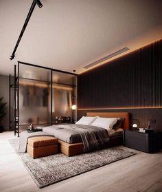 Loft Interior, Master Bedroom Interior, Modern Master Bedroom, Bedroom Furniture Design, Cozy Bedroom, Interior Architecture, Interior Modern, Luxury Interior, Master Suite