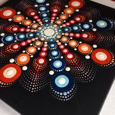 Big Original Dotart Red Mandala Painting by CreateAndCherish