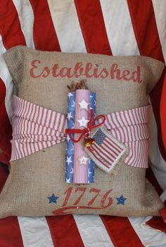 Est. 1776 Patriotic Burlap Pillow