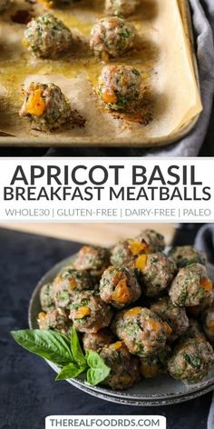 Made with just 6 ingredients, these freezer-friendly Apricot-Basil Breakfast Meatballs are a delicious and easy protein option to start th. Recetas Whole30, Whole 30 Breakfast, Paleo Breakfast, Breakfast Casserole, Frozen Breakfast, Breakfast Waffles, Breakfast Sandwiches, Breakfast Burritos, Breakfast And Brunch