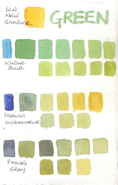 Mixing Many Greens with Watercolor Paints