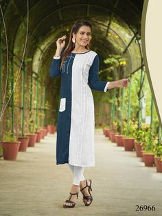 36121f08da2 Buy Attractive Blue-White Colored Casual Wear Rayon Long Kurti at Rs. Get  latest Casual kurti for womens at Peachmode.