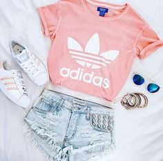 new products 17142 cde90 pink adidas shirt, pink superstars, and shorts