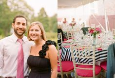 navy striped table cloth with white chivaris and pink cushions