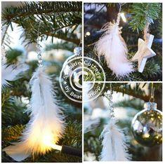 Unser Tannenbaum und ein Weihnachtsschmuck DIY aus Federn und Perlen - Seaside-Cottage Xmas, Christmas Ornaments, Holiday Decor, Diy, White Feathers, Feather Headdress, Advent Season, Beads, Make Your Own