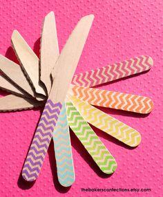 GIRLS Rainbow Chevron Knives - Eco-friendly Wooden Birthday Party Knives (set of 36). $17.99, via Etsy.