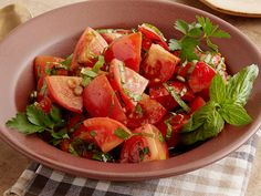 """Marinated Tomato Salad With Herbs : Ree serves this light """"city girl"""" salad to balance out heavier country fare like chicken-fried steak and mashed potatoes."""