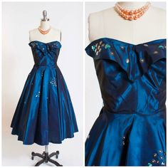 1950s Vintage Party Dress Deep Blue Sharkskin Strapless Sequined Vintage 50s Dress with Princess Petal Bust and Full Skirt Size Xsmall