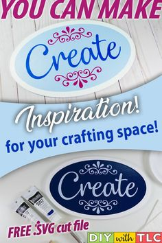 Decorate your crafting space with this inspirational sign that you can stencil Do It Yourself Crafts, Crafts To Make, Crafty Craft, Crafting, Diy Home Accessories, Weekend Crafts, Inspirational Signs, Cricut Tutorials, Stencil Diy