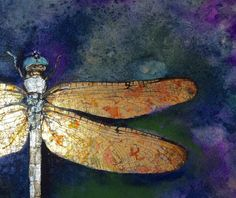Dragonfly with gold leaf Watercolors and gold by tjCervantesArt