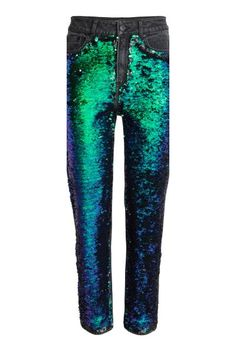 5-pocket jeans in washed stretch denim with reversible sequins on the front in a relaxed fit with a regular waist, zip fly with a button, low crotch and tap