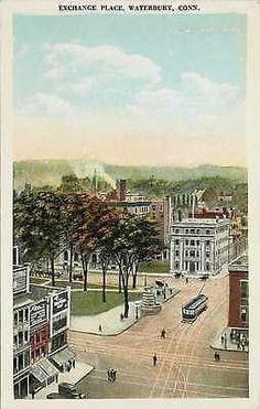 Waterbury Connecticut CT 1925 Exchange Place Town Square Vintage Postcard
