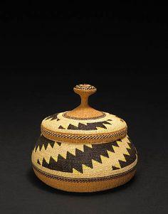 Elizabeth Hickox (Yurok/Hupa/Karuk/American), Lidded Basket, porcupine quills/plant fibers, c. 1925.