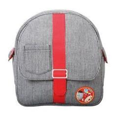 Tuc Tuc Unisex Red and Black Denim Kids Travel Backpack.