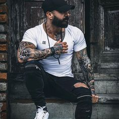 Beard ______________________________________________ I would remind you of the end of the promotion at shop. Last sales moment is end of today. All clothes and some up to by Men Looks, Stylish Men, Men Casual, Look Man, Cool Tattoos For Guys, Hipster Man, Inked Men, Beard Tattoo, Poses For Men