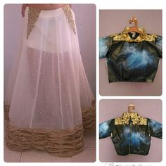 White Georgette skirt with golden salvats and pearl work and crop top Price-8500/-