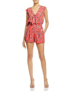 cupcakes and cashmere Fitz Floral Print Tie-Neck Romper $125