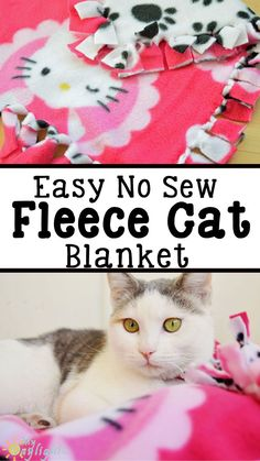Keep your cats cozy and warm this winter with a No Sew Fleece Cat blanket! Your cat will love it and its easy to make. The perfect gift to give your favorite feline for the holidays! #ToPetsWithLove #ad