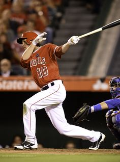 Grant Green #10 records his first career hit off of a pitch by Texas' Yu Darvish in the second inning