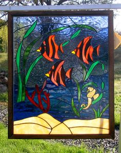 Tropical Fish, Stained Glass Framed