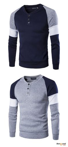 Mens fashion casual british style sweater spell color stitching button raglan sleeve t-shirt. Mens Fashion Sweaters, Casual Sweaters, Sweater Fashion, Fashion Joggers, Men's Casual Wardrobe, Casual Outfits, Men Casual, Winter Outfits, Casual Winter