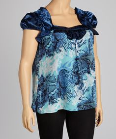 Look at this Madison Paige Blue Cap-Sleeve Top - Plus on #zulily today!