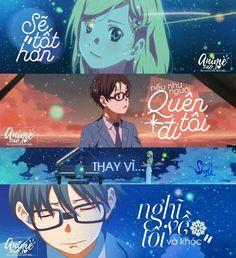 """""""Sẽ tốt hơn nếu như người quên tôi đi thay vì nghĩ về tôi và khóc."""" Some Quotes, Great Quotes, Miyazono Kaori, Best Caps, Meant To Be Quotes, Your Lie In April, Caption Quotes, You Lied, Me Me Me Anime"""