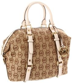Amazon.com: MICHAEL Michael Kors Monogram Bedford Satchel (Beige/Ebony/Vanilla): Shoes