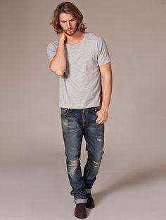 Wide Neck T - Shirt - Nudie Jeans - Grå Melange - T - Shirts - Kläder - Man - Nelly.com