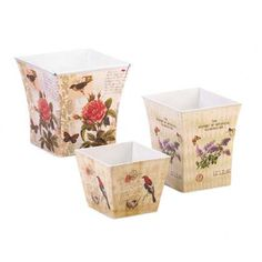 Butterfly Planter Trio delightful planters decorated with the splendor of a busy garden. Each one has a vintage-inspired botanical illustration featuring butterflies, birds, and blooms in striking colors that will multiply the beauty of your .