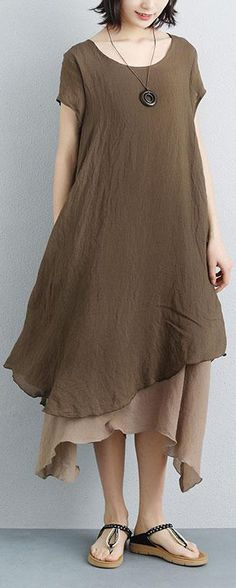 e5227fd887f boutique summer maxi dress plus size False Two-piece Short Sleeve Coffee  Plain Dress