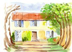 Facade d'une maison Facade, Painting, Art, Water Colors, Home, Art Background, Painting Art, Kunst, Facades