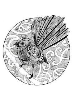 B&W Fantail - birds/animals - fiona-clarke.com