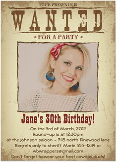"""Round up all your friends with a fun and retro Wild West invitation. Choose the style that fits your party: vintage pin-up cowgirl, old time buckaroo, rustic Western, or classic """"Wanted"""" poster. Find everything you need to plan your Wild West, Western or Cowboy themed party at http://sparklerparties.com/wild-west/"""