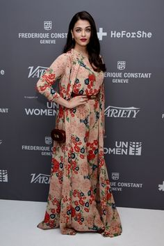 Aishwarya Rai looks pretty in Sabyaschi floral outfit at Cannes is the variety and UN Women Panel discussion for gender equality 2015 Modest Fashion, Fashion Dresses, Black Top And Jeans, Frederique, Designer Jumpsuits, Aishwarya Rai Bachchan, Vogue India, Bollywood Celebrities, Bollywood Girls