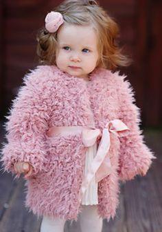 Girls Pink Lamb Faux Fur Sash Coat