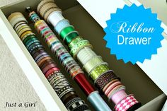Create an organized ribbon drawer using wooden dowels.