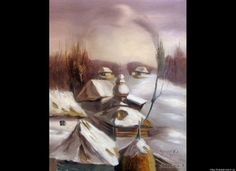 Stare at Oleg Shuplyak's painting, you may find one more illusion element that is hiding inside! Shared Stunning Illusion Paintings by Oleg Shuplyak here. Optical Illusion Paintings, Optical Illusions Pictures, Illusion Pictures, Art Optical, Illusion Kunst, Illusion Art, Oleg Shuplyak, Street Art, Hidden Images