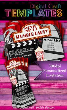 Personalized Printable Invitations | Slumber Party | Movie Night | Birthday Party |  #17