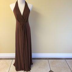 BCBGMaxAzria maxi BCBGMaxAzria brown halter maxi dress. Never worn with tags   No trades // Only Poshmark transactions   Shar  Insta // Pinterest: sharguerieri BCBGMaxAzria Dresses Backless