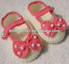 sandalias a crochet | Mão handmade malha frisado crochet bebê sapatos booties com crochê ...