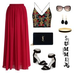 """""""Untitled #1078"""" by gallant81 ❤ liked on Polyvore featuring Chicwish, Topshop, Jeffrey Campbell, Yves Saint Laurent, Gucci, GUESS and Halcyon Days"""