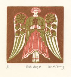 'Oak Angel' by Sarah Young (woodcut)